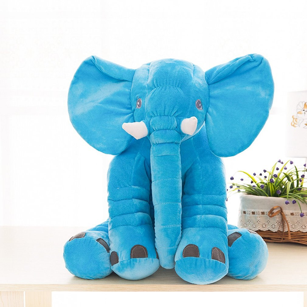 Elefante almohada muñeca peluche juguete 28x33cm azul