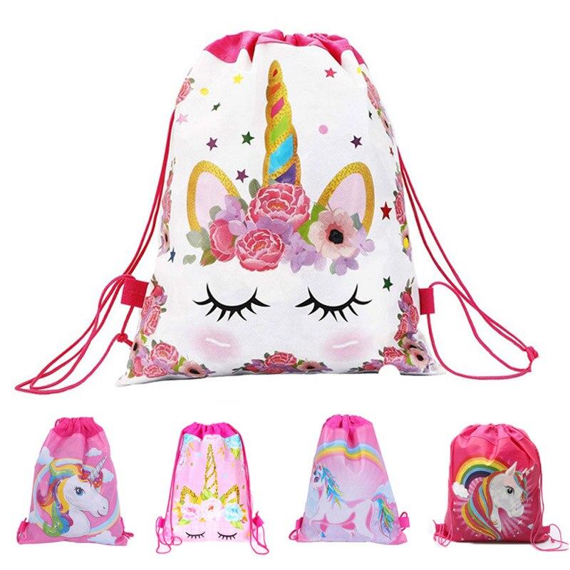 Mochila de unicórnio de algodão para meninas, brinquedos infantis, macia, de pelúcia, cordão, mochila para crianças, bolsa de armazenamento de brinquedos, 1 peça para 1kg