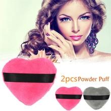 Grey and Red 2pcs/set Beauty Women Velvet Fabric BB Fundation Heart-shaped Powder Puff Makeup Puff