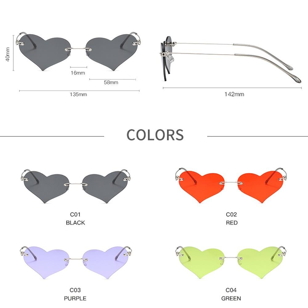 YAMEIZE Fashion Red Heart Shaped Rimless Sunglasses Women Brand Design Frameless Cat Eye Sun Glasses Female Eyewear Gafas De Sol