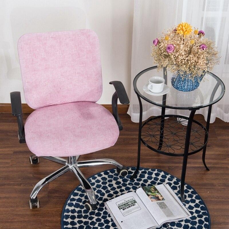 Thumbedding de textura Lino fundas de silla Rosa Simple dulce dividir cubierta de asiento de equipo de oficina Anti-polvo Color sólido para sillón