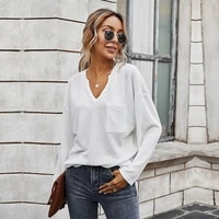 blouse tops women 2021 autumn solid color simple v neck slim knitted shirt casual loose all match long sleeve tops