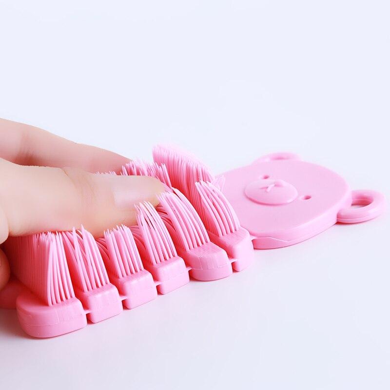 Herramientas de cepillo de Color amarillo Gel de sílice limpiador suave artes de uñas cepillo de limpieza de polvo Oso de dibujos animados lindo manicura pedicura