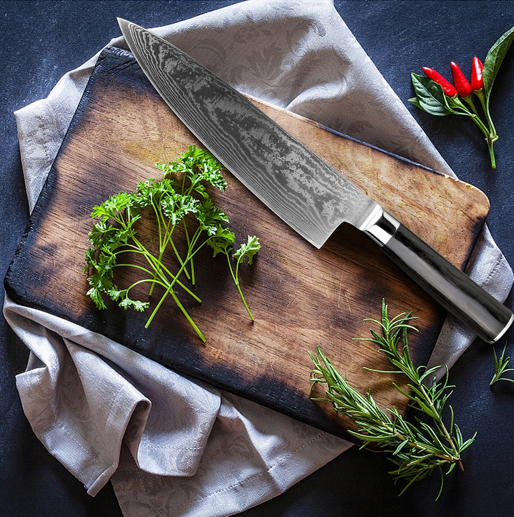 Купить с кэшбэком XITUO Damascus Knives Chef Knife Japanese Kitchen Knife Damascus VG10 67 Layer Stainless Steel Knife Ultra Sharp Sashimi Cleaver