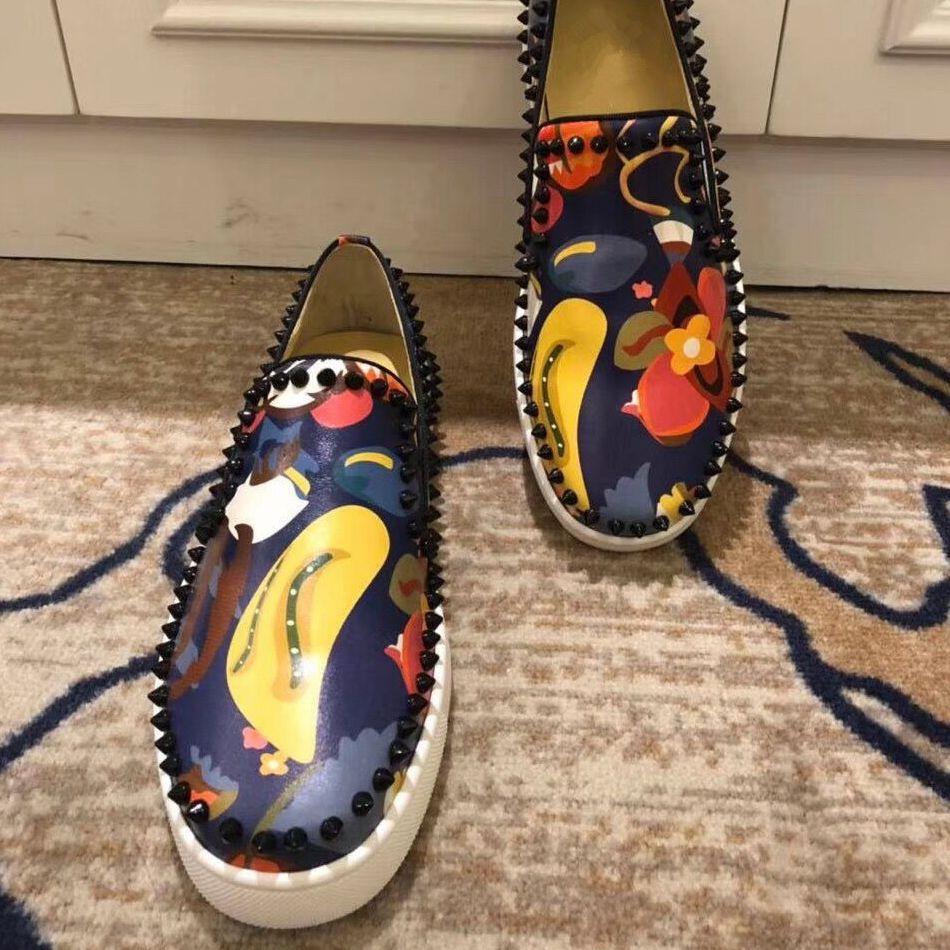 Mocasines planos para hombre, zapatos de cuero de lujo con pinchos de...