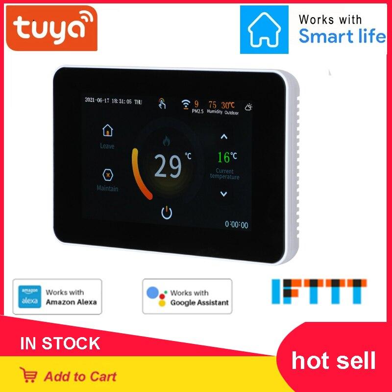 Tuya WiFi المرجل التدفئة ترموستات اللمس للبرمجة الذكية Termostato شاشة ملونة تعمل باللمس التحكم الصوتي ل Aleax جوجل الرئيسية