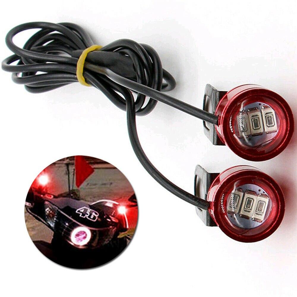 Novo 2 pçs dc 12 v motocicleta espelho retrovisor eagle eye 3 led flash luzes estroboscópicas vermelho