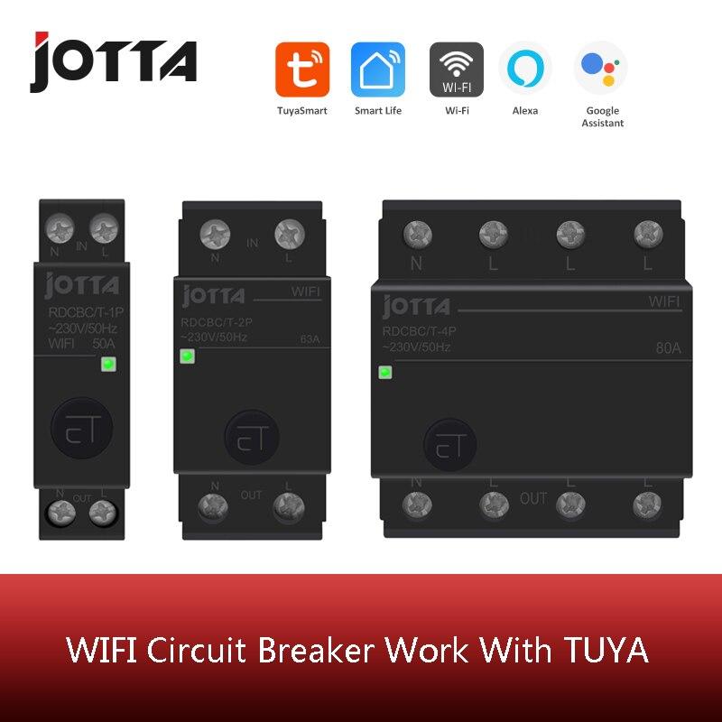 1P 2P 4P 50A 63A 80A 100A carril Din WIFI disyuntor inteligente interruptor de Control remoto por vida inteligente TUYA para casa inteligente