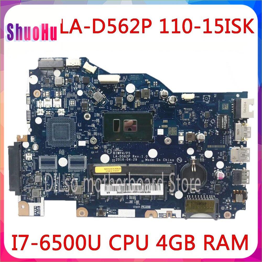 KEFU LA-D562P اللوحة 110-15isk اللوحة المحمول LA-D562P I7-6500U CPU 4GB لينوفو DDR3 HM76 إنتل المتكاملة