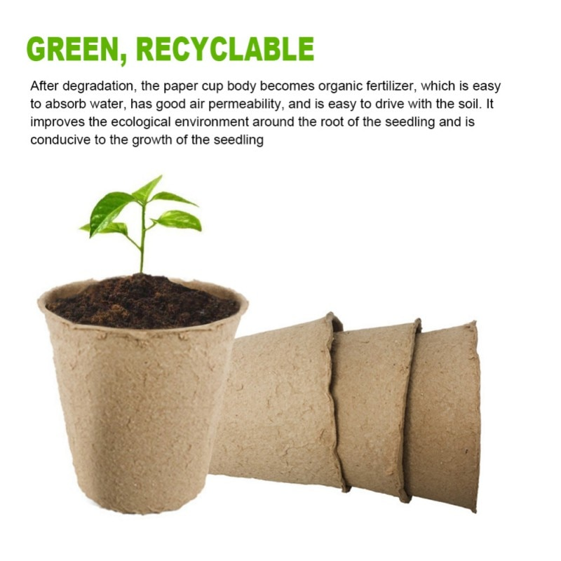 Maceta para crecimiento de plantas de papel, planta de semillero maceta para, set de tazas para vivero de semillas ecológicas biodegradables ecológicas para el hogar, herramientas de jardín