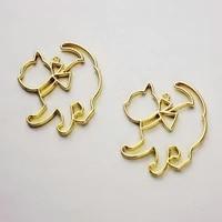 5pcs cute cat bezel metal frame jewelry findings pendant accessories diy charms handmade uv resin necklace earring open bezels
