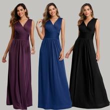 Doux étirement confort diamants coton-tissu col en v sans manches dos ouvert plissé robe de Cocktail couleur Pure formelle robes de soirée