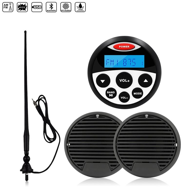 "Estéreo marítimo Radio receptor de Audio Bluetooth barco MP3 jugador + 3 ""altavoces marinos resistente al agua + antena FM AM para ATV SPA carrito de Golf"