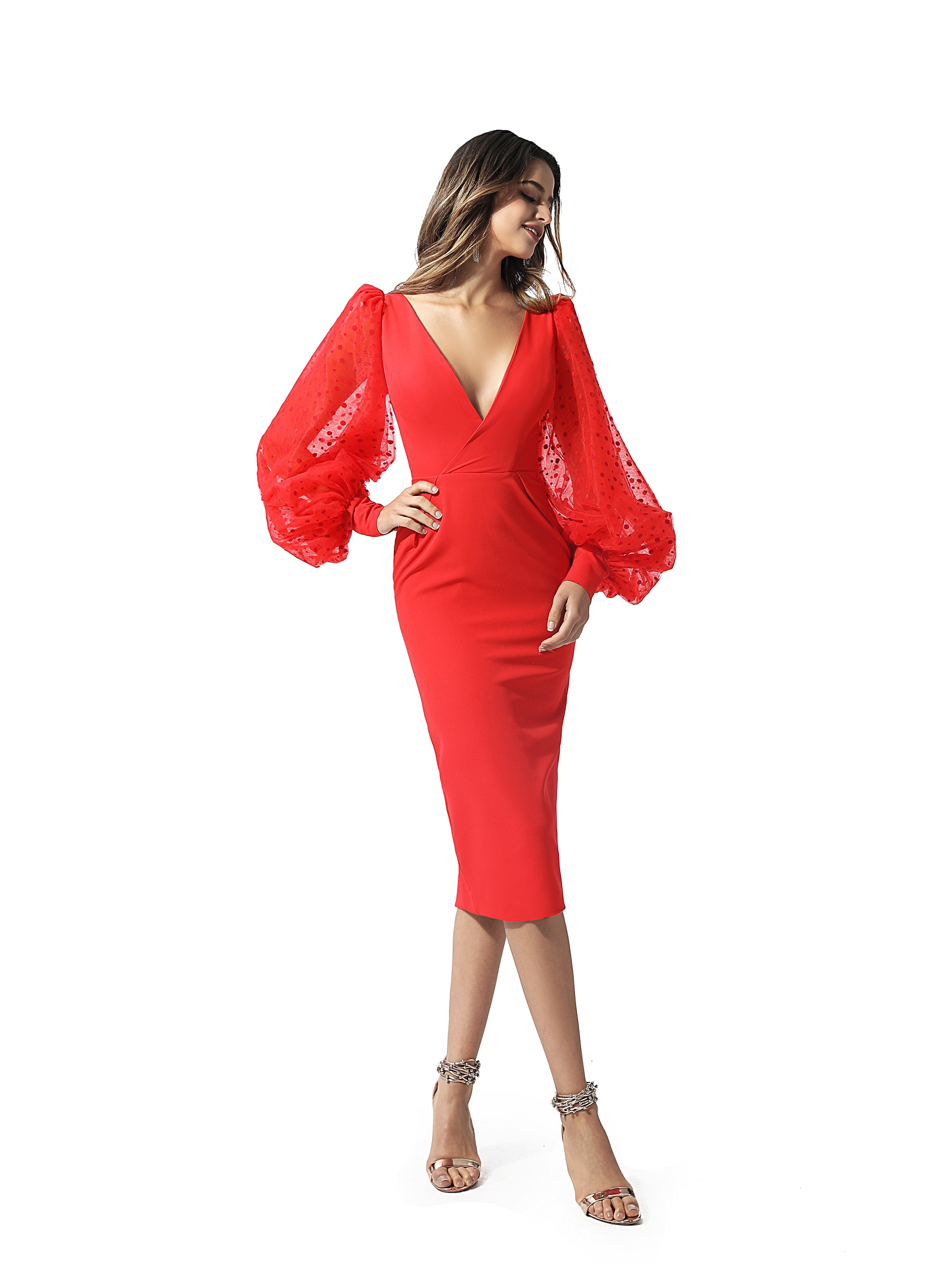 Tanpell Vintage Red V-Neck Cocktail Dress Lace Lantern Long Sleeves Knee-Length Ladies Sexy Party Custom Cocktail Dress 2020 фото