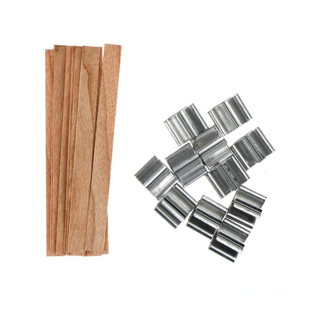 10 sztuk 12.5/13mm drewniane świece knot rdzenie z żelaza stoi Sustainer świeca knot rdzeń Handmade DIY wosk ozdoba do domu rękodzieło