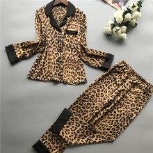 Lisacmvpnel Spring New Long Sleeve Pajamas Woman Ice Silk Fashion Leopard Print Sexy Pajama Set