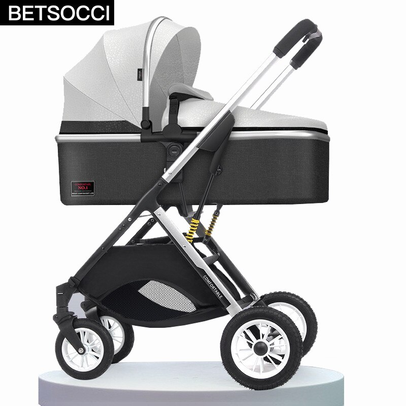 BETSOCCI baby stroller 2 in 1 can sit, lie down and lightly fold two-way high landscape newborn baby stroller