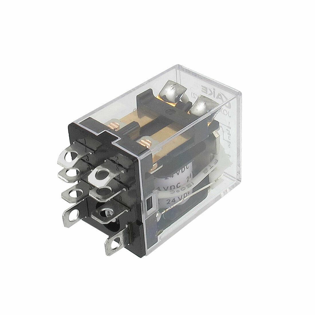 JQX13F LY2 24VDC Spule Spannung 2P2T 8 Pins 10A Grüne LED Licht Power Relais