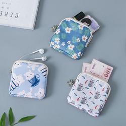 Organizador para guardanapo, bolsa com tampão para armazenamento de cosméticos e fone de ouvido, organizador de lona para cartão de crédito