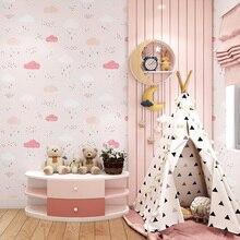 Childrens Room Bedroom Wallpaper  Boy Princess Room Cartoon Lovely Pink Blue Non-woven Blue Sky White Cloud Rain Wallpaper Roll