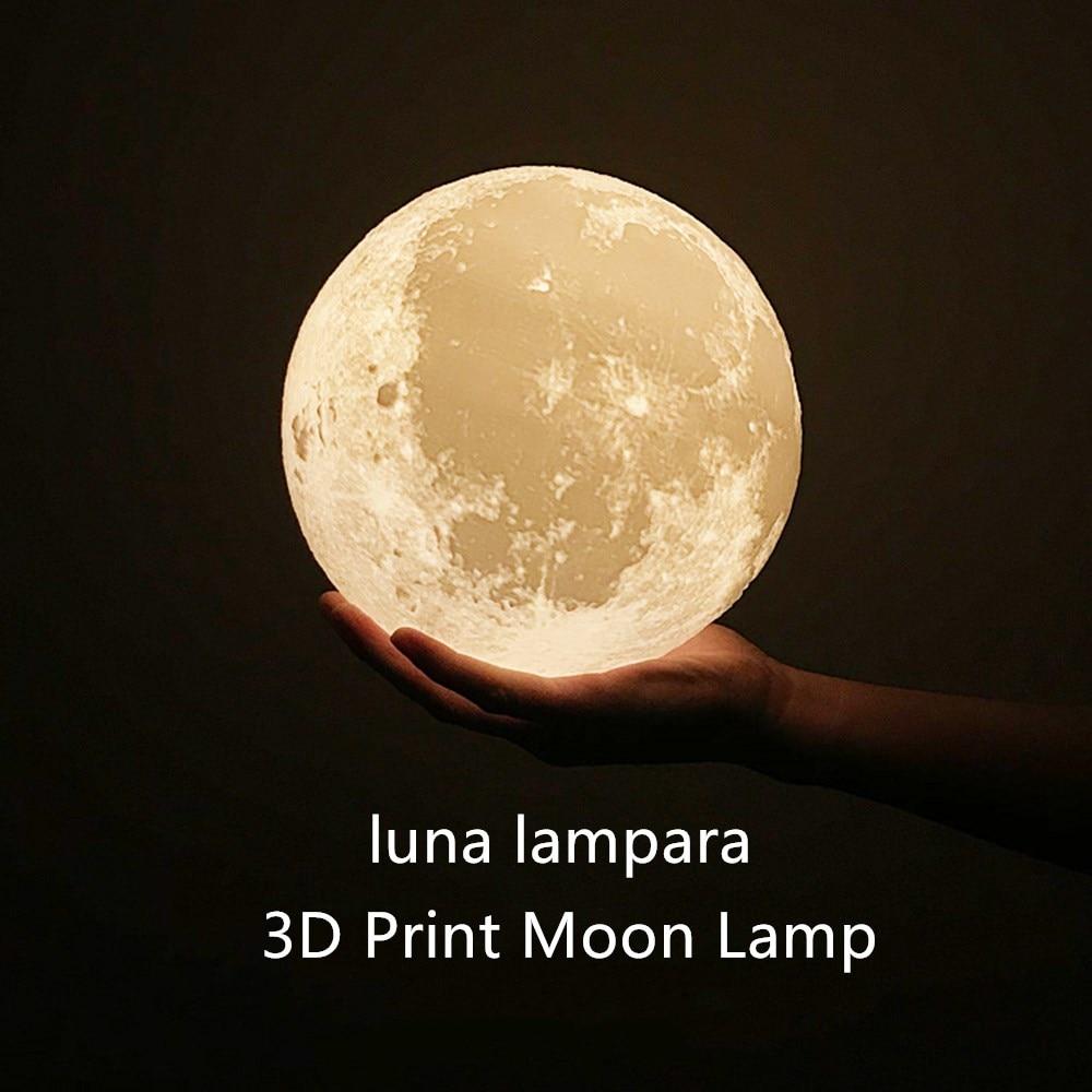 3D طباعة القمر مصباح ليلة ضوء التحكم عن بعد 2 اللون تغيير اللمس التبديل نوم خزانة ديكور المنزل الإبداعية هدية 15 سنتيمتر-20 سنتيمتر R