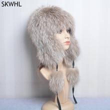 Luxury Women Natural Fox Fur Hat Real Fur Beanies Cap Knitted Hats Russian Brand Fashion Winter Warm