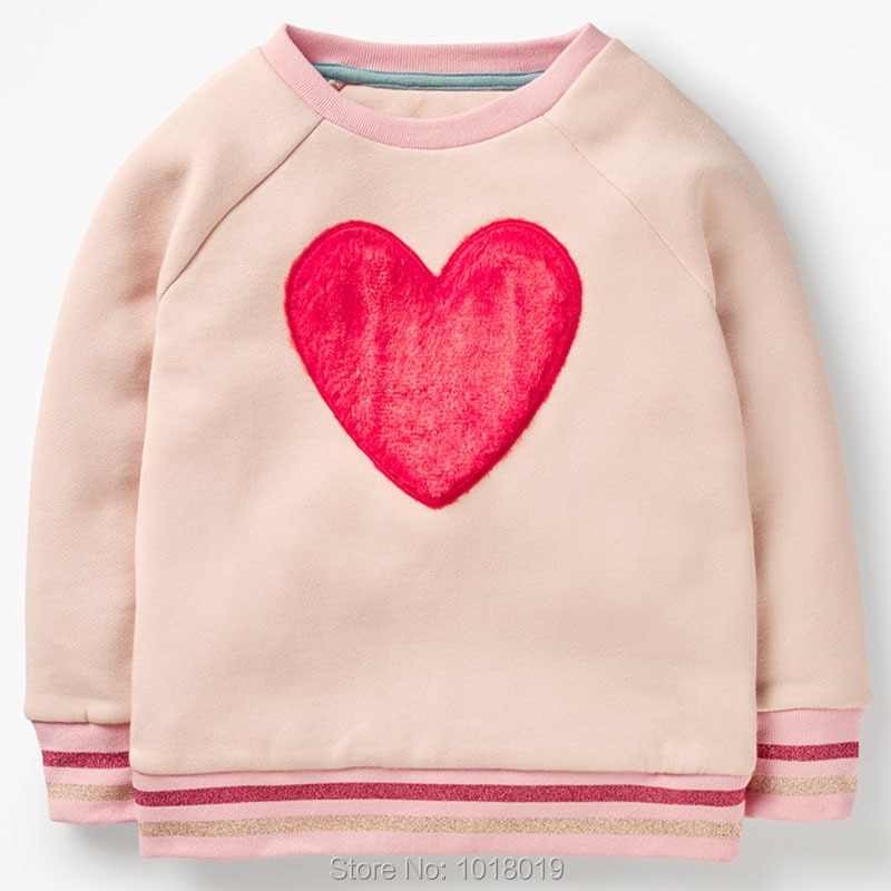 Sudaderas con capucha para niños ropa de abrigo para bebés y niñas camisetas para niñas sudadera para Bebés Ropa para niñas suéter 100% Camiseta de algodón Interloop camisetas corazón rojo