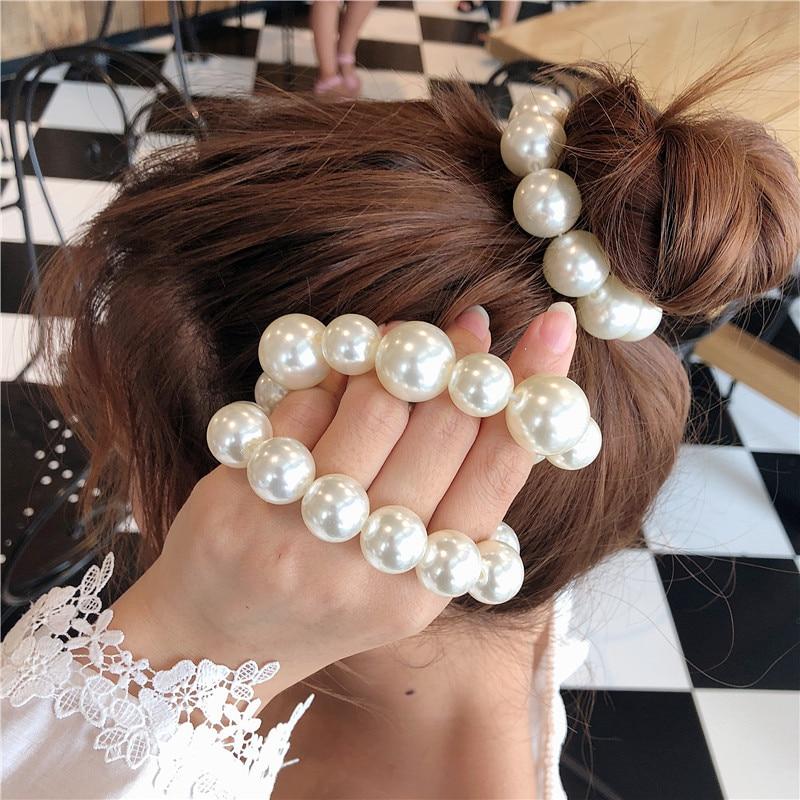 Frau große Perle Haargummis, Mode koreanischen Stil Haarband, Haargummis Mädchen, Pferdeschwanzhalter Gummiband, Haarschmuck