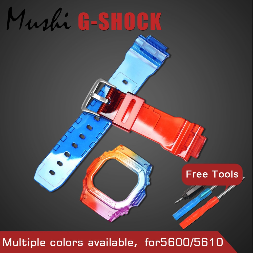 Mush Watchbands Watch Strap Watch Case For Casio GW-M5610 DW-5600 GLX-5600 G-5600 G-5600E GW-S5600 g-shock Watch Accessories
