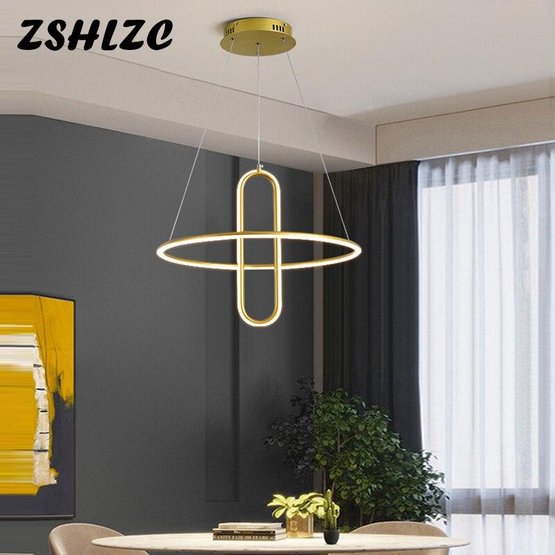 Новые светодиодные подвесные лампы, потолочные люстры для стола, столовой, спальни, кухни, домашний декор, подвесное освещение, черные, золо...