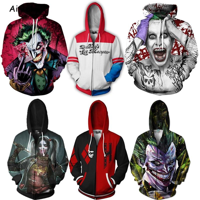 Birds of Prey Suicide Squad Cosplay Harley Quinn 3D Print Hoodies Sweatshirts Hooded Hoodies Joker Batman Costume Coat Clothes