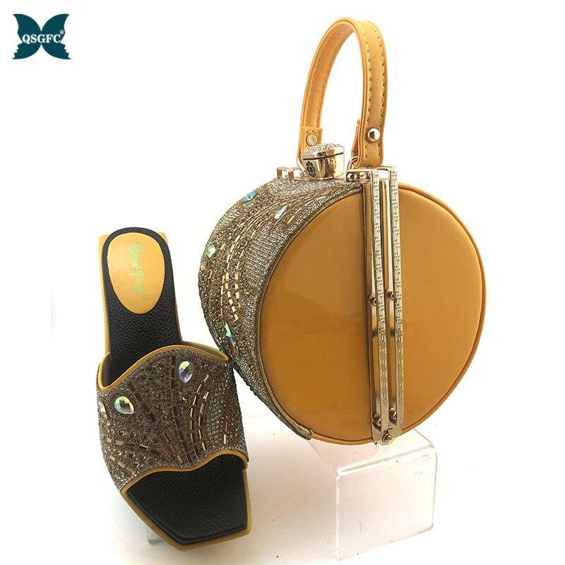 Lo último en zapatos de mujer de diseño italiano de zapatos y Bolsa amarillo y bolso a juego con zapatos y bolso africano para mujer de estilo maduro