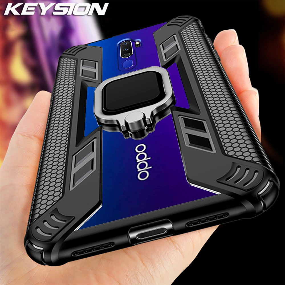 KEYSION Shockproof Armor Case for OPPO A9 2020 A5 2020 Stand Magnetic Holder Ring Back Cover for OPP