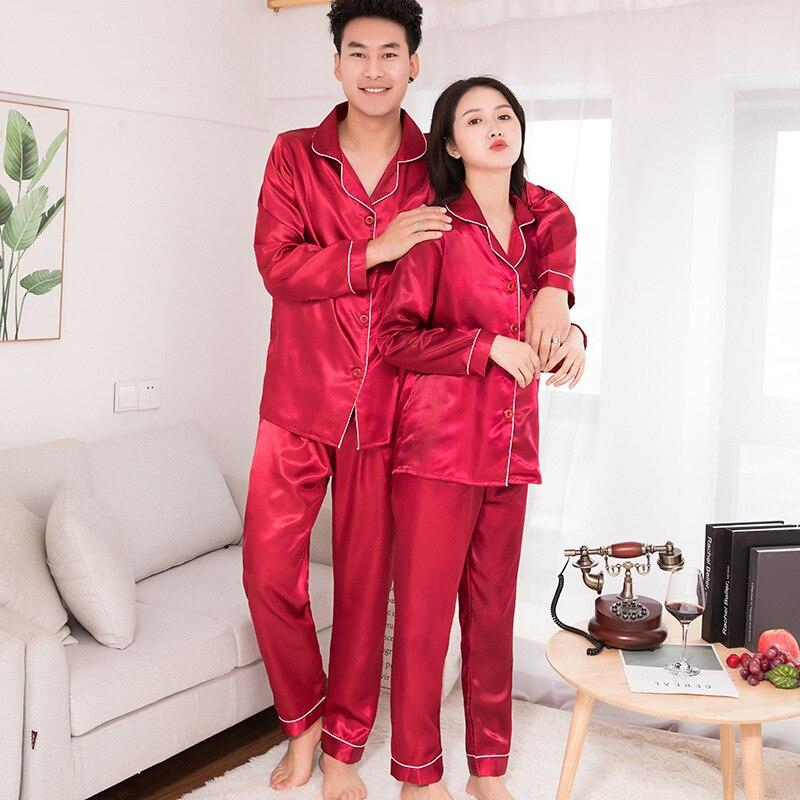 Шелк атлас мужские пижамы комплект мода одежда для сна пара однотонный цвет длинный рукав костюм повседневный из двух частей пижама осень резинка домашняя одежда