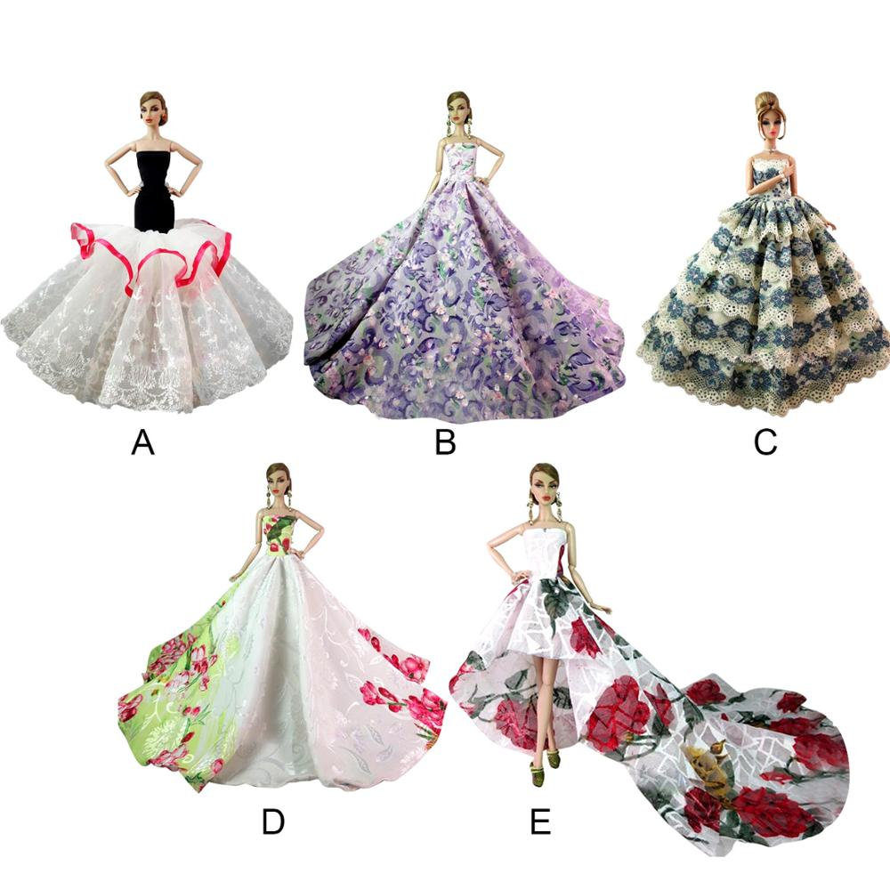 Besegad Mini muñeca largo vestidos de novia princesa fiesta de ropa traje vestido traje accesorios para Barbie juguete