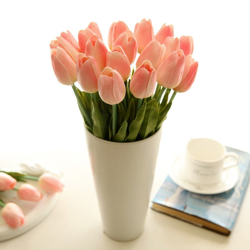 31PCS/Lot PU Mini Artificial Tulip Flower Real Touch Wedding Flower Bouquet Artificial Silk Flowers For Home Party Decoration