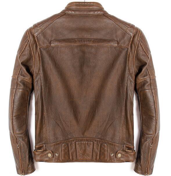 Winter Cow Genuine Mens Motorcycle Stand Collar Vintage Classic Zipper Real Leather Coat Slim Brown Biker Jacket