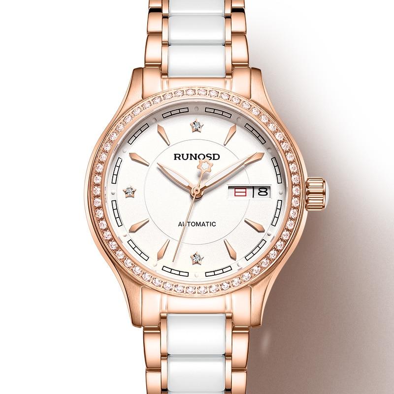 Reloj RUNOSDLadies de lujo Rosa oro circón día calendario miyota movimiento mecánico zafiro cristal Acero inoxidable 8157LS