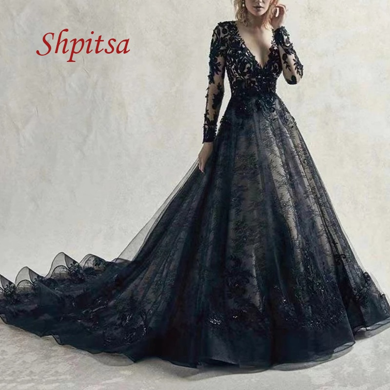 Black Long Sleeve Lace Wedding Dresses A Line Tulle Plus Size White Ivory Women Girl Sexy Weeding Bride Bridal Dress