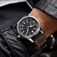 Corgeut Fashion Leather Top Mechanical Watch 17 Jewels 6497 Hand Winding Mechanical Watches luminous Men wristwatches