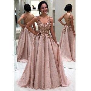 Dusty Pink Chiffon Lace Long Evening Dress 2021 Sexy Zipper Back Evening Party Dresses with Sashes Vestido de Festa