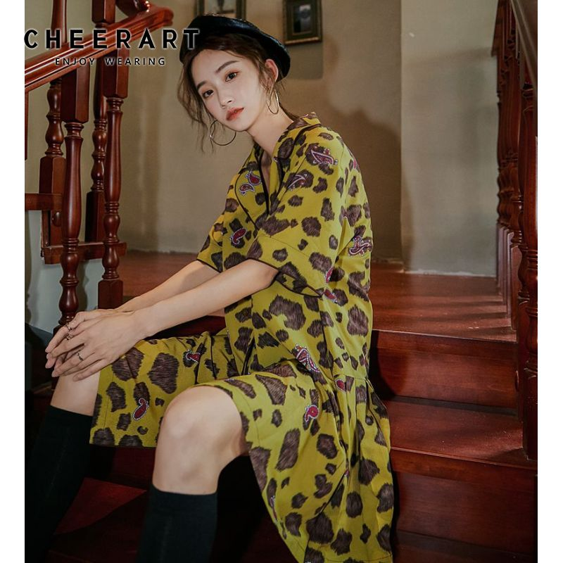 Cheerart Loose A Line vestido Vintage mujeres solapa verano manga corta Mini espalda para vestido plisado estilo coreano vestido