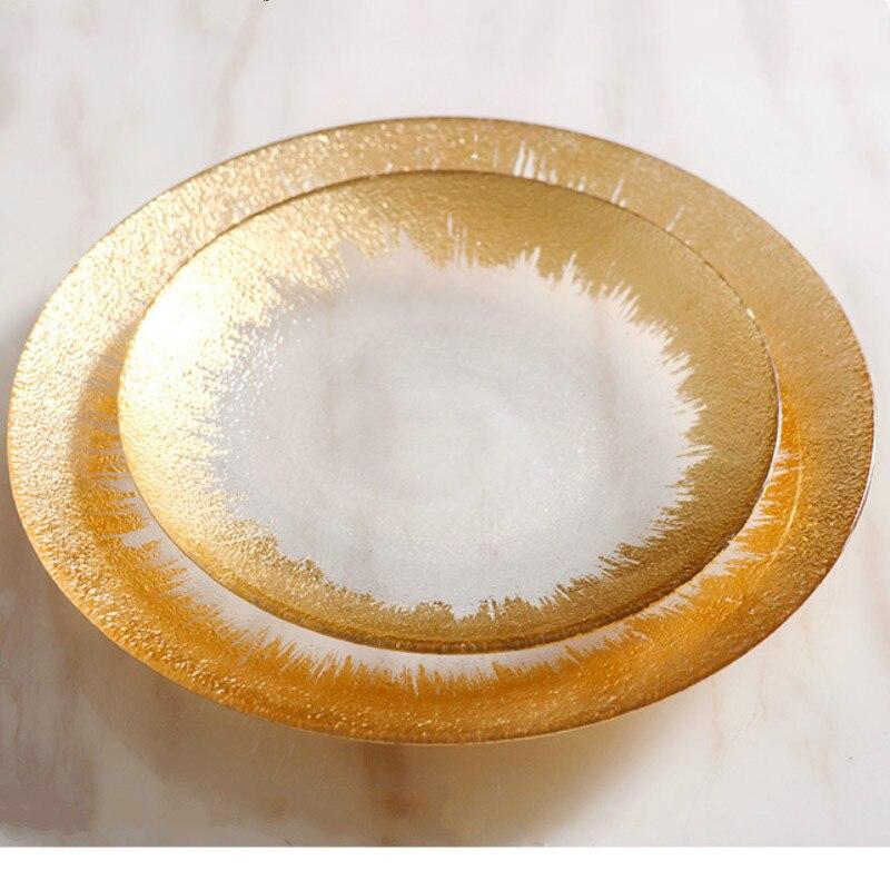 أطباق ألومنيوم ذهبية زجاجية سميكة ، إبداعية ، للمطعم والعائلة ، للإجازات ، سلطة ، باستا ، كعكة ، شريحة لحم ، 8-10 بوصة