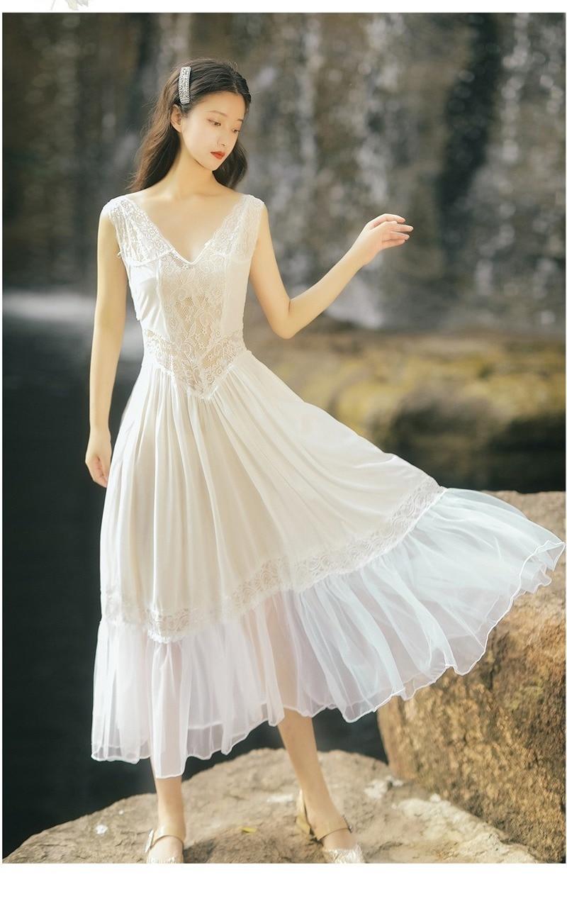 Get 2021 luxury quality fashion women's V-neck dress high-end white lace splicing sexy backless temperament elegant wedding dress