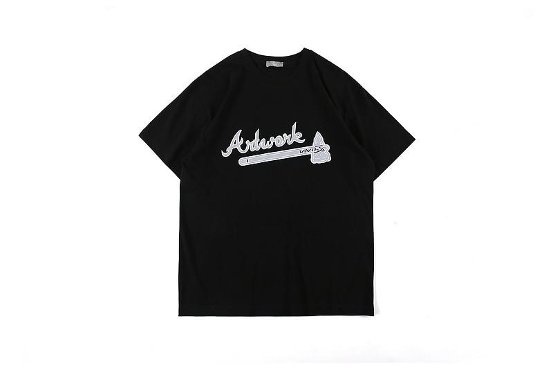 2020 nueva Alta Calidad Virgil Abloh AX camiseta impresa hombres mujeres 100% camisetas de algodón camiseta de gran tamaño de manga corta hombres
