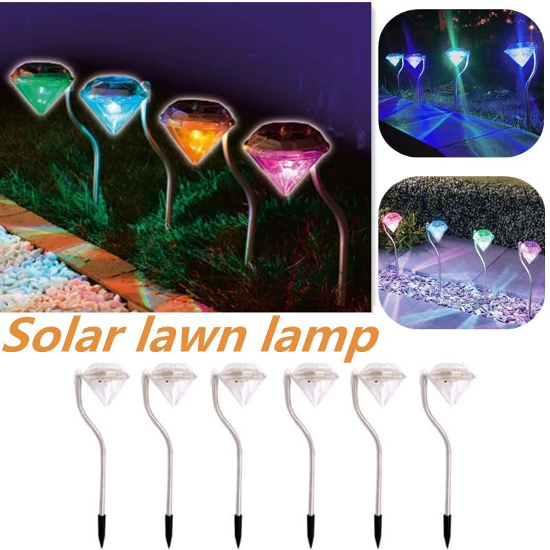 4Pcs Diamonds Stainless Steel Solar Lawn Light for Garden Decorative 100% Solar Power Outdoor Solar Lamp