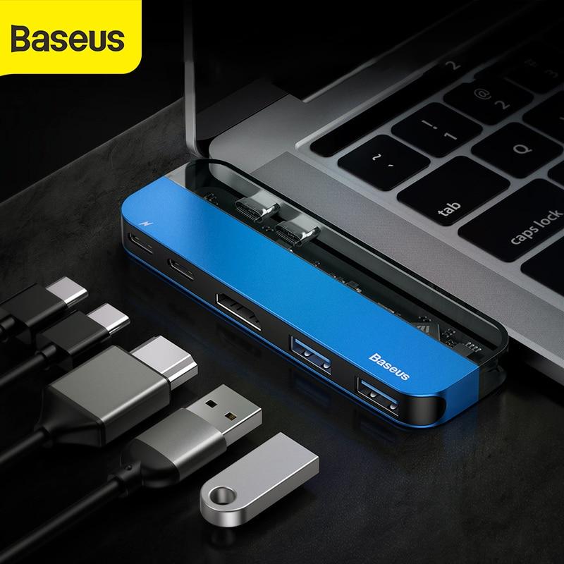 Baseus HUB USB a Dual USB 3,0 USB C para MacBook Pro 4K HD PD superficie HDMI Thunderbolt 3 Multi HUB USB tipo C USB divisor