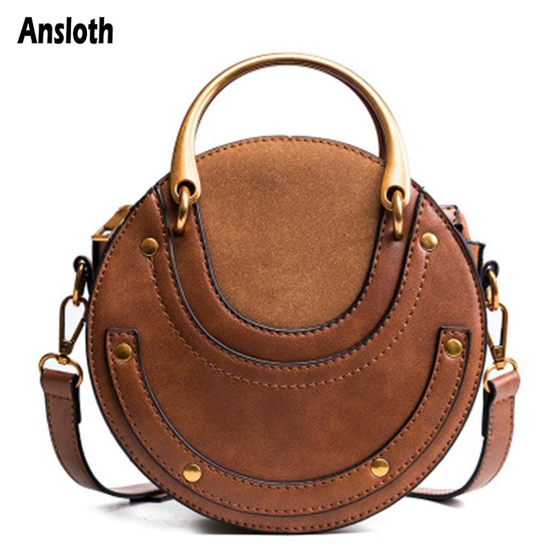 Ansloth Crossbody Bags For Women 2020 High Quality Retro Handbags Small Round Bag Rivet Shoulder Bags Female Bags Fashion HPS974