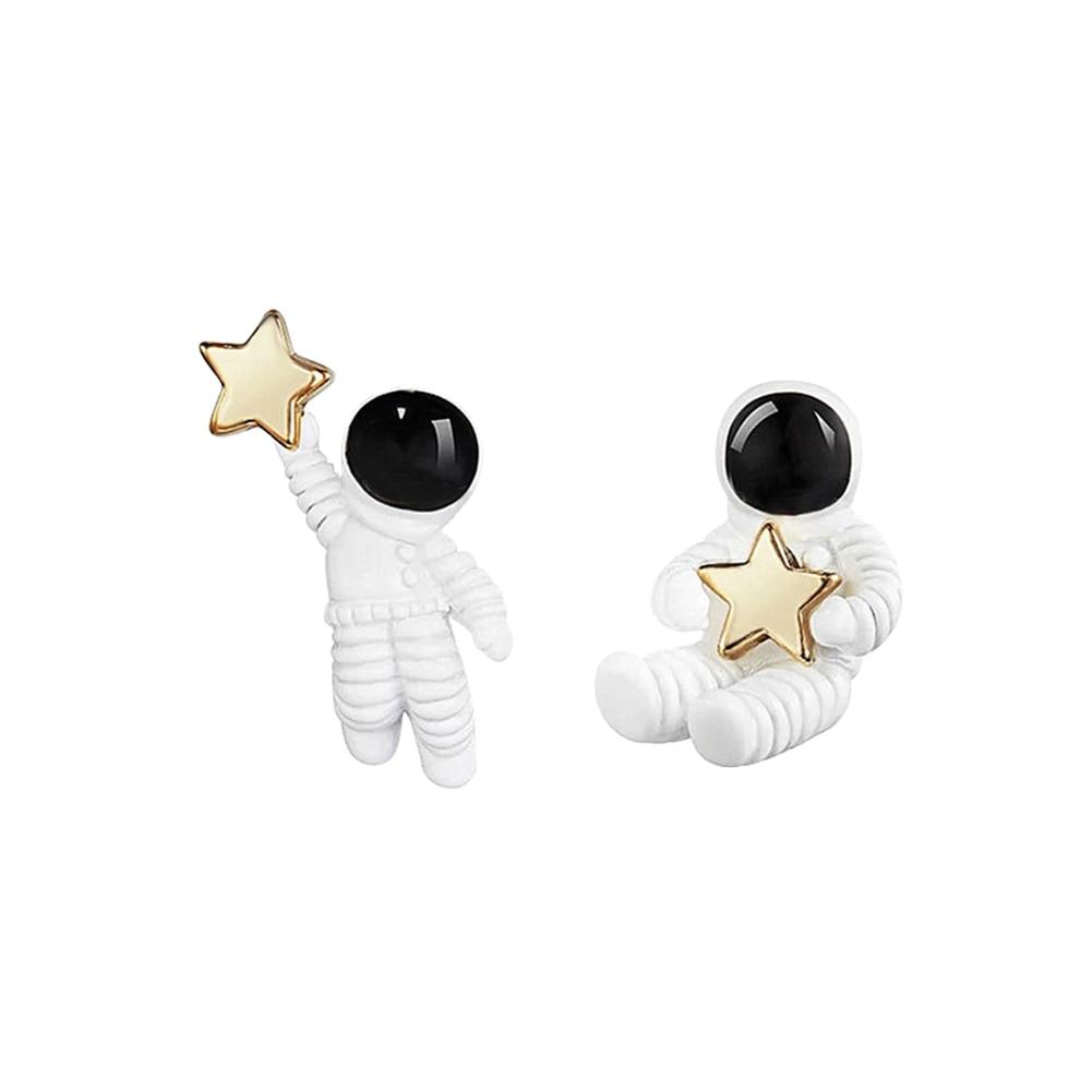 Creative fashion cute space astronaut star picking earrings female women five-pointed star asymmetrical earrings