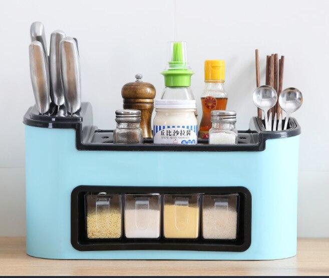 المطبخ تخزين الرف المنزلية صندوق توابل سكين زجاجة توابل تخزين الرف سطح المكتب تخزين الرف